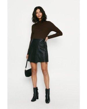 Womens Faux Leather Wrap Mini Skirt - black, Black