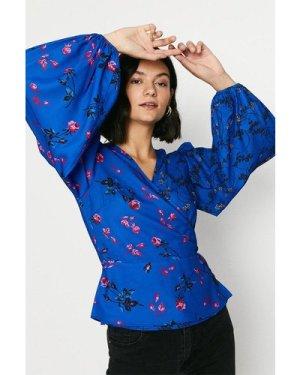 Womens Blue Floral Wrap Top, Blue