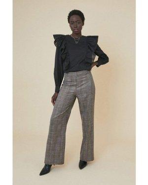 Womens Cotton Ruffle Blouse - black, Black
