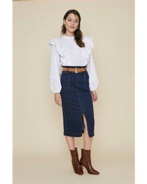 Womens Dark Wash Belted Midi Skirt, Dark Wash