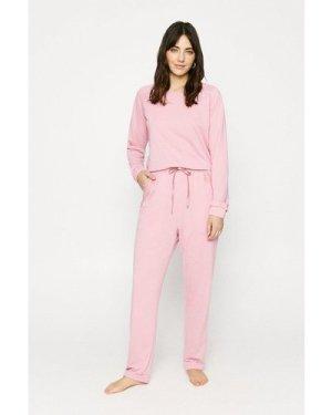 Womens Long Sleeve Lounge Lace Top - dusky pink, Dusky Pink