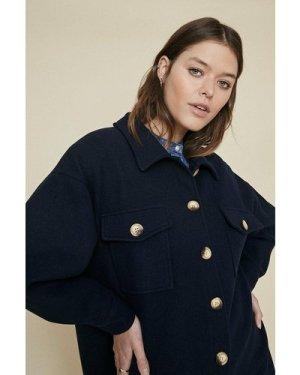 Womens Longline Button Detail Jacket - dark navy, Dark Navy