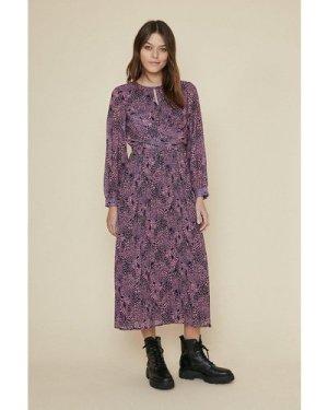 Womens Animal Pleated Skirt Midi Dress - multi, Multi