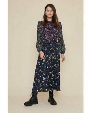 Womens Floral Patched Chiffon Midi Dress - black, Black
