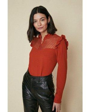 Womens Ruffle High Neck Long Sleeve Top - rust, Rust