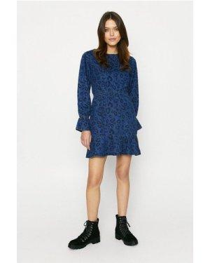 Womens Denim Leopard Dress, Denim