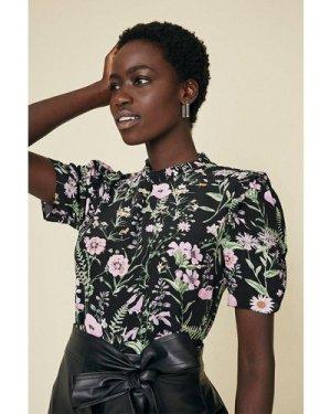 Womens Floral Shell Top - black, Black