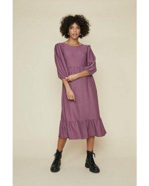 Womens Textured Midi Dress - mauve, Mauve