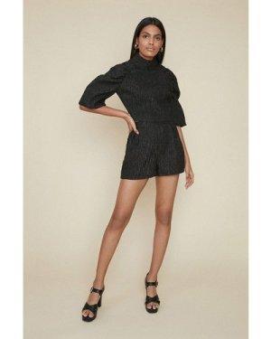 Womens Jacquard Raglan Top - black, Black
