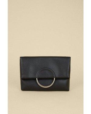 Womens Ring Detail Cross Body Bag - black, Black