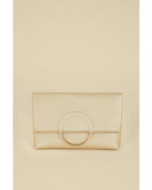 Womens Ring Detail Cross Body Bag - gold, Gold