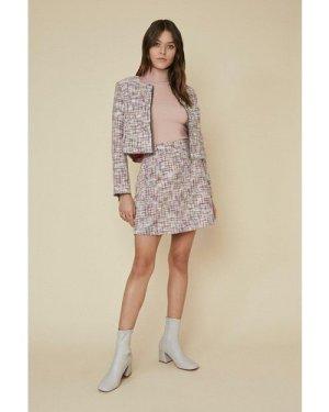 Womens Multi Tweed Mini Skirt, Multi