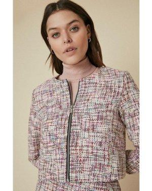 Womens Tweed Zip Through Jacket - multi, Multi