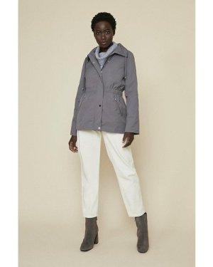 Womens Short Zip Through Parka - grey, Grey