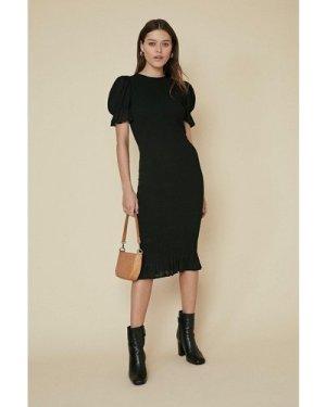 Womens Shirred Puff Sleeve Midi Dress - black, Black