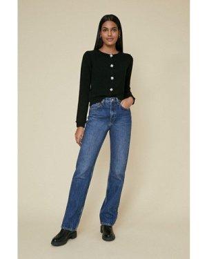 Womens Cosy Sparkle Button Cardigan - black, Black