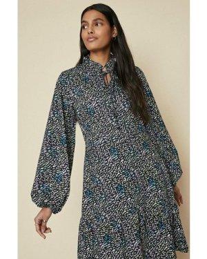 Womens Tie Neck Tiered Printed Shift Dress - multi, Multi