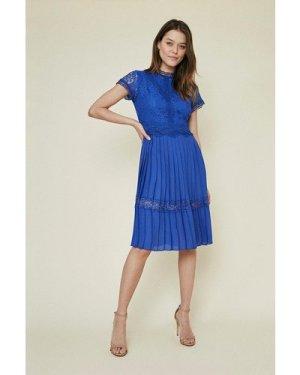 Womens Lace Bodice Pleat Dress - cobalt, Cobalt