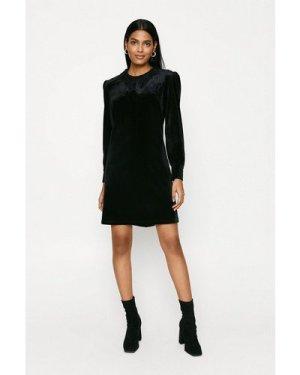 Womens Lace Collar Velvet Dress - black, Black