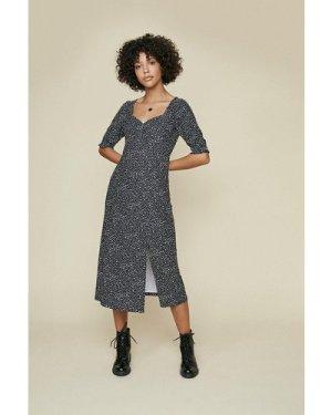 Womens Sweetheart Shirred Cuff Printed Midi - black, Black