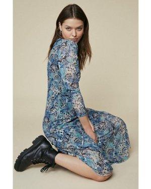 Womens Mesh Printed Bias Cut Midi Dress - blue, Blue