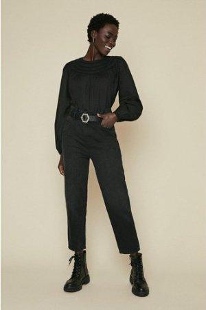 Womens Yoke Detailed Blouse - black, Black