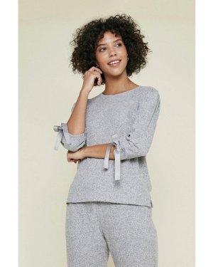 Womens Cosy Rib Ruch Sleeve Top - grey, Grey
