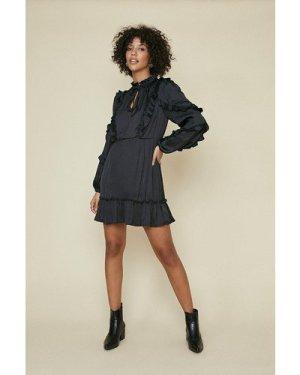 Womens Satin Frill Skater Dress - black, Black
