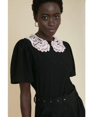 Womens Pink Lace Collar Plain Top - black, Black