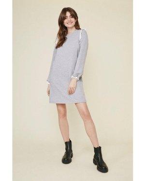 Womens Broderie Frill Sweat Dress - grey marl, Grey Marl