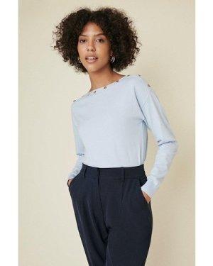 Womens Button Detail Slash Neck Jumper - pale blue, Pale Blue