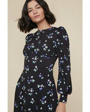 Womens Printed Empire Line Midi Dress - black, Black