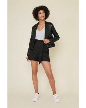 Womens Belted Linen Look Shorts - black, Black