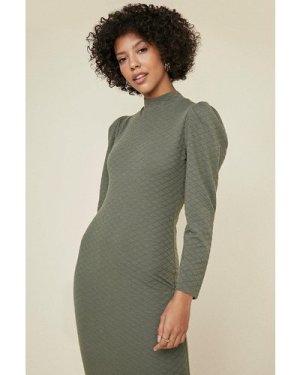 Womens Quilted High Neck Midi Tube Dress - khaki, Khaki