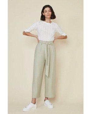 Womens Linen Look Wide Leg Trouser - sage, Sage