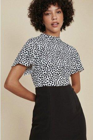 Womens Spot Print 2 In 1 Midi Dress - blackwhite, Blackwhite