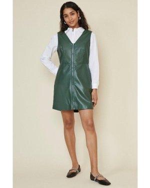 Womens Pu Zip Through Dress - green, Green