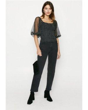 Womens Spot Mesh Shirred Top - black, Black