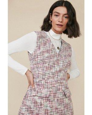 Womens Multi Tweed Shift Dress, Multi