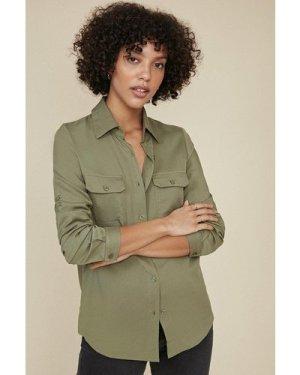 Womens Long Sleeve Cargo Shirt - khaki, Khaki
