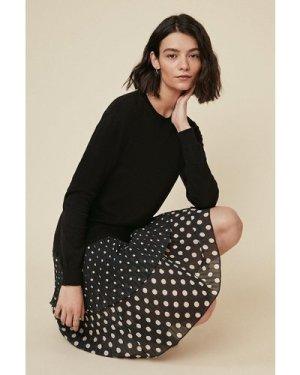 Womens Polka Dot Knit Dress - black, Black