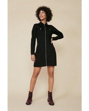 Womens Long Sleeved Zip Through Denim Dress - black, Black