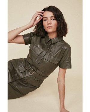 Womens Belted Leather Mini Dress - khaki, Khaki