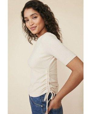 Womens Soft Rib Ruched Side T Shirt - natural, Natural