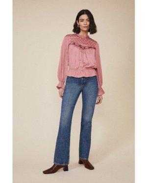 Womens Studded Yoke Blouse - pink, Pink