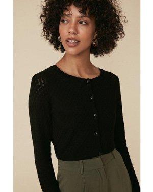 Womens Diamond Stitch Crew Cardigan - black, Black