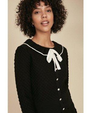 Womens Frill Neck Stitch Button Jumper - black, Black