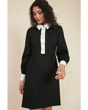 Womens Diamanté Button Ponte Dress - black, Black