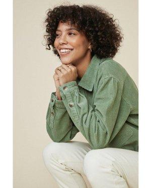 Womens Cropped Cord Jacket - khaki, Khaki