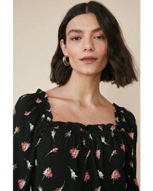 Womens Rose Print Square Neck Top - black, Black